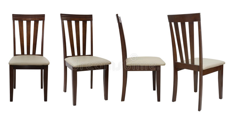 una sedia di legno di 4 angoli isolata su fondo bianco fotografia stock