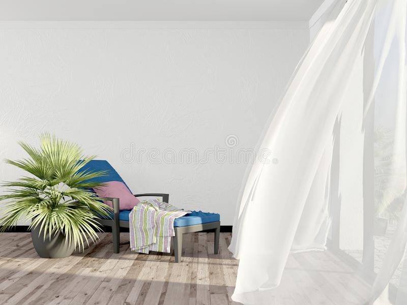 Una sedia di salotto vuota dentro una stanza luminosa con le tende leggere nella stazione termale è vuota Esponga al sole la chai illustrazione di stock