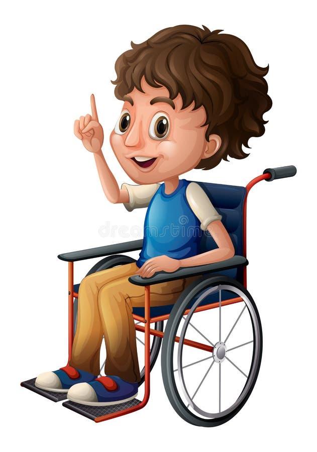 Una sedia a rotelle con un ragazzo royalty illustrazione gratis