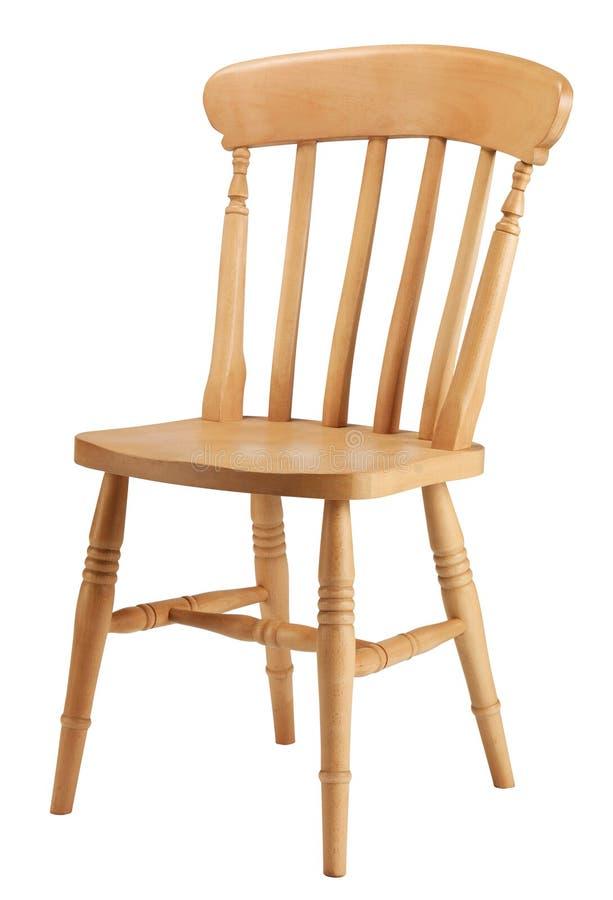 Una sedia tradizionale della cucina del pino fotografie stock libere da diritti