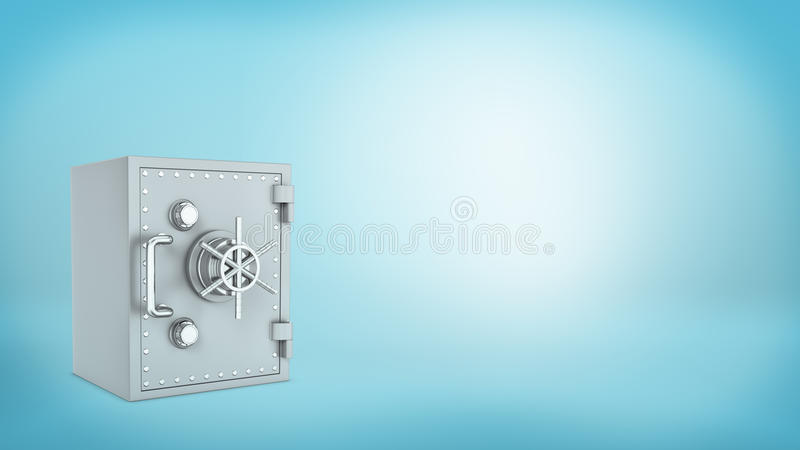Una seguro-caja pasada de moda metálica cerrada con una rueda en fondo azul fotos de archivo