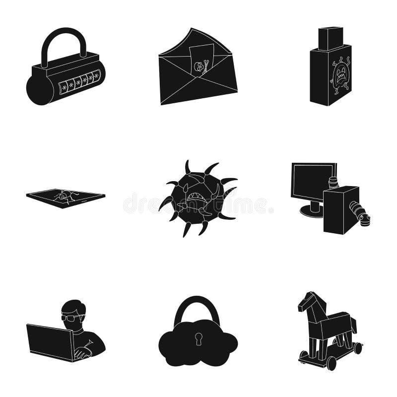 Una selección de iconos sobre la protección y la fractura Tecnología moderna de la protección contra la fractura Piratas informát ilustración del vector