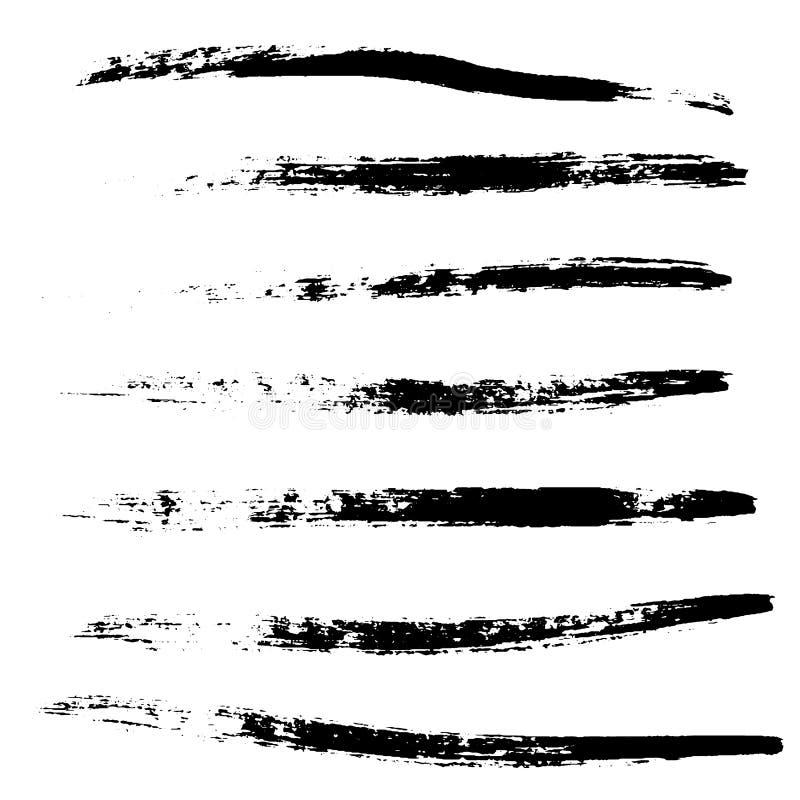 Una selección de negro de los cepillos Elementos del cepillo del vector del Grunge para su diseño ilustración del vector