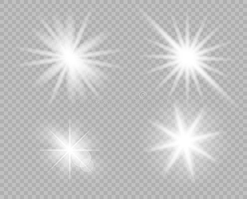 Una selezione degli oggetti luminosi bianchi di luce, abbagliamento Scintillio, esplosione, lustro della stella Decorazione di ve illustrazione vettoriale