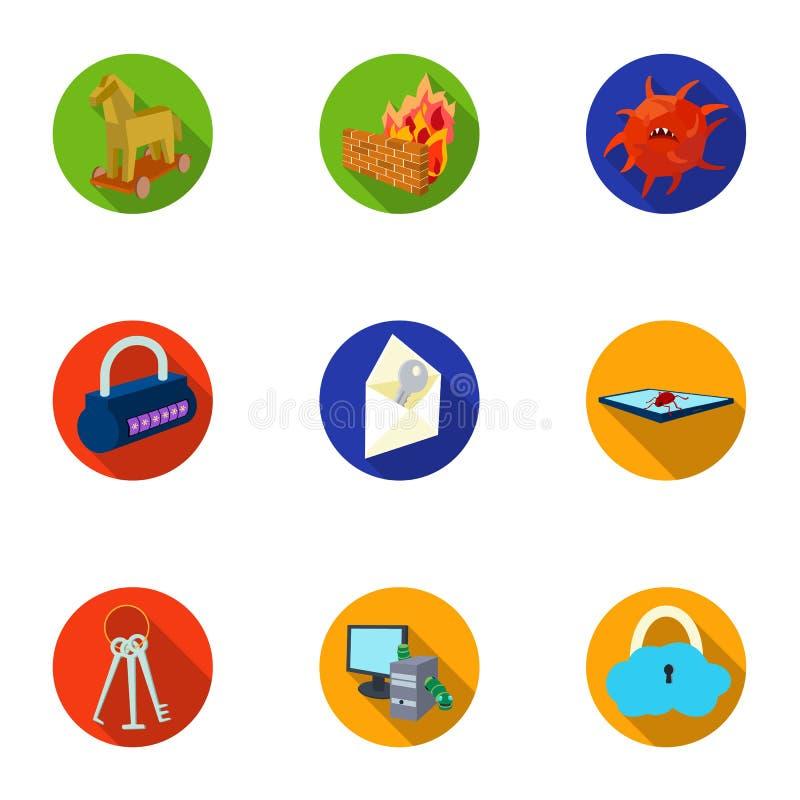 Una selezione delle icone circa protezione e rompersi Tecnologia moderna di protezione contro rompersi Pirati informatici e illustrazione di stock