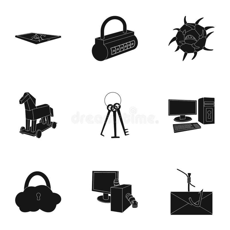 Una selezione delle icone circa protezione e rompersi Tecnologia moderna di protezione contro rompersi Pirati informatici e royalty illustrazione gratis