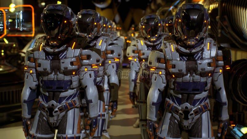 Una separación de los soldados del futuro que se prepara para aterrizar en el planeta representación 3d libre illustration