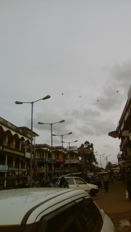 Una sera in Changanacherry Kerala anche conosciuto come il proprio paese di Dio immagine stock libera da diritti