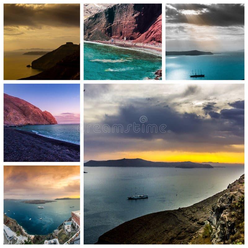 Una serie de A de fotos del verano en la isla de Santorini, Grecia fotos de archivo
