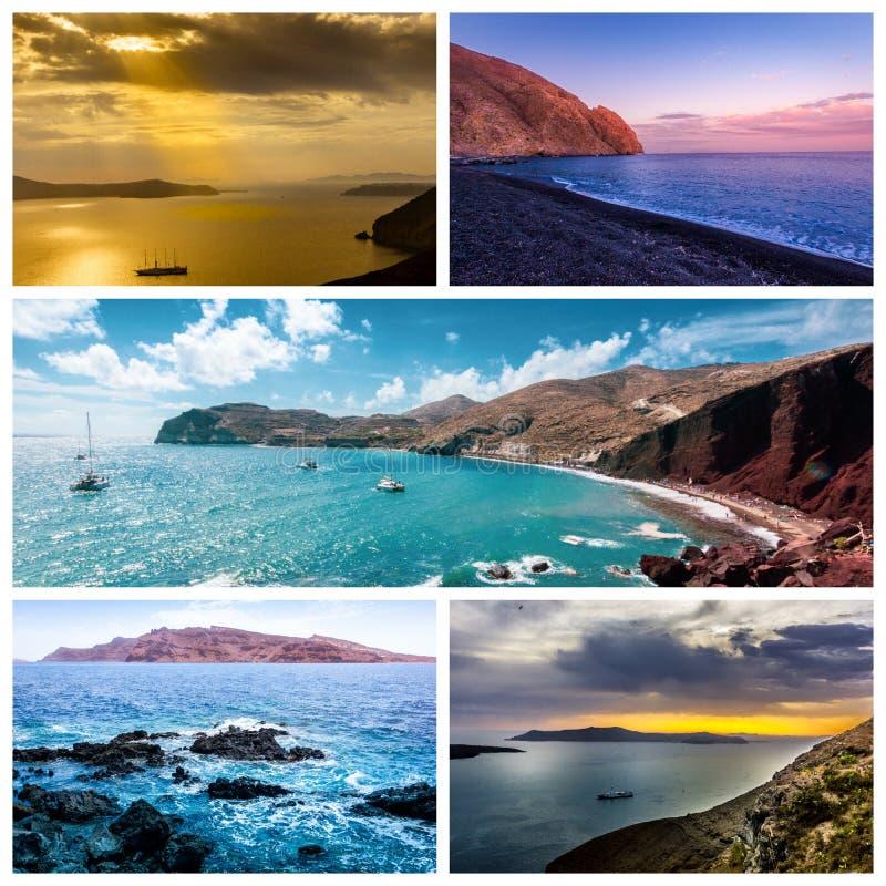 Una serie de fotos del verano en la isla de Santorini, Grecia foto de archivo libre de regalías