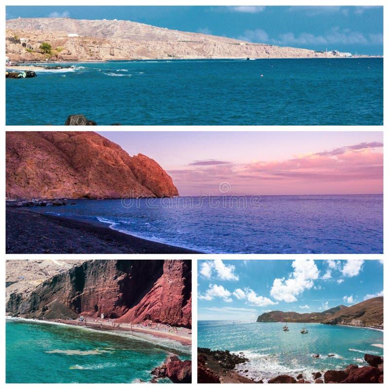 Una serie de fotos del verano en la isla de Santorini, Grecia fotografía de archivo