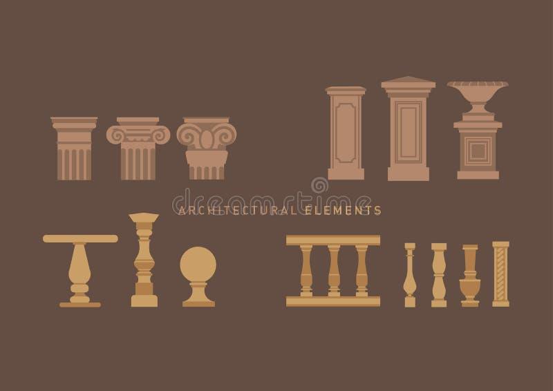 Una serie grande de elementos arquitectónicos ilustración del vector