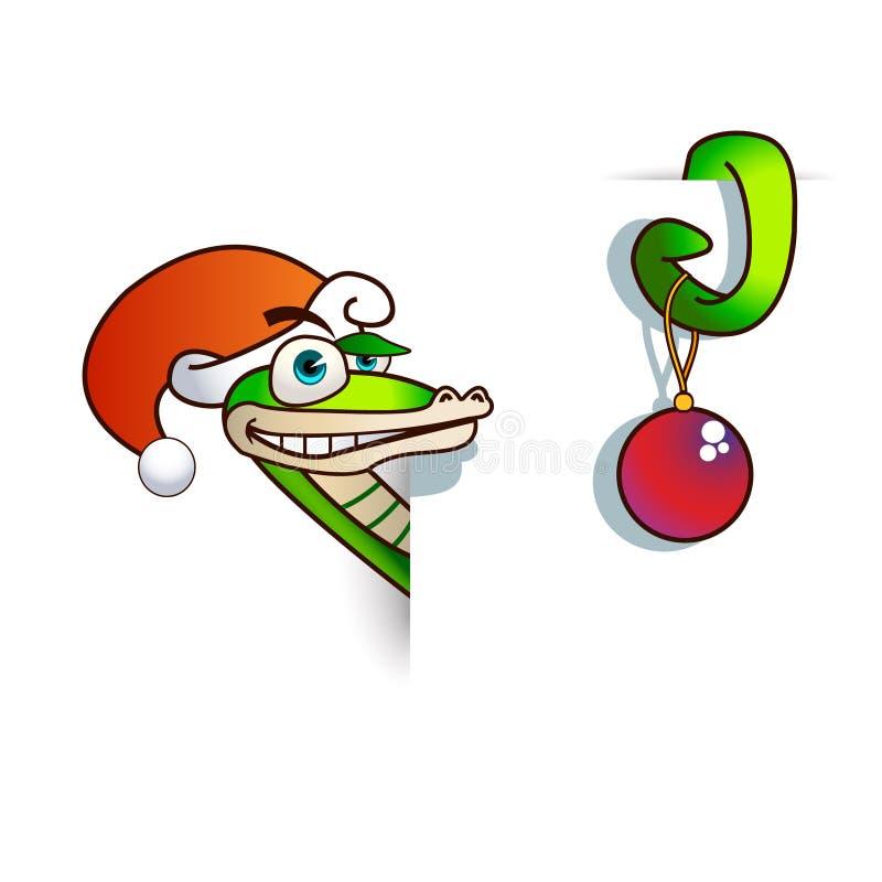 Una serpiente de la Navidad se embute en una hoja. libre illustration