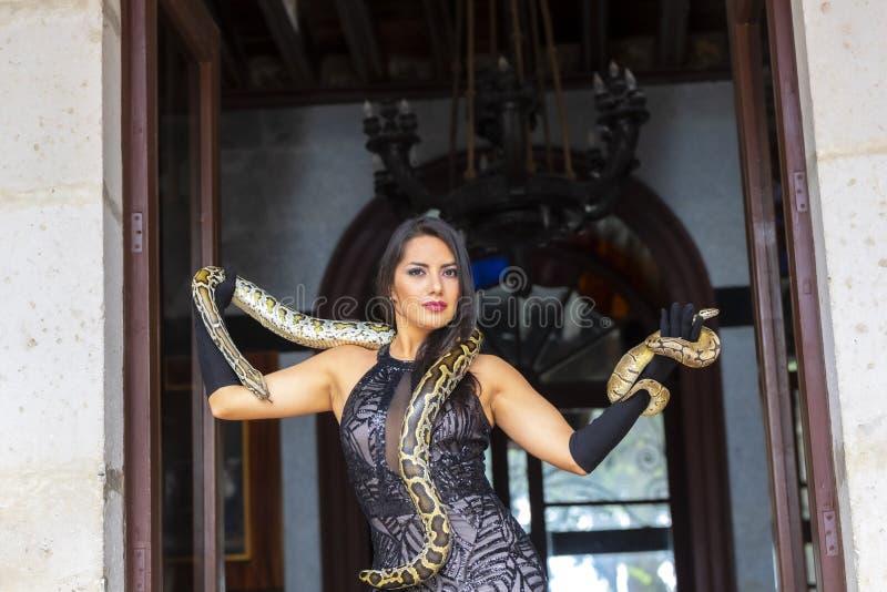 Una serpiente morena hispánica hermosa del constrictor de boa de Poses With A del modelo alrededor de su cuerpo imagen de archivo