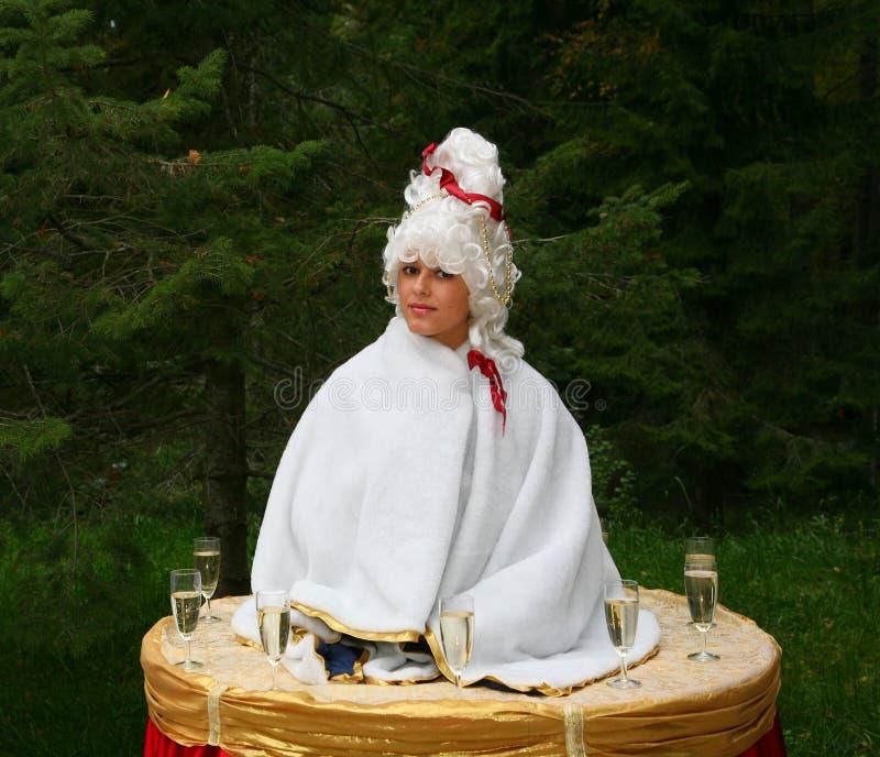 Una signora-bevanda, una tavola della ragazza, tavola vivente immagine stock