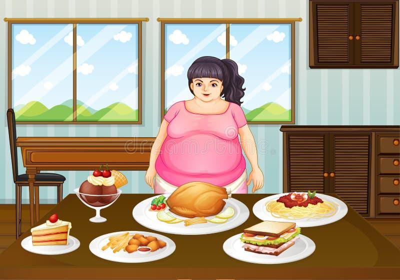 Una signora grassa davanti ad una tavola in pieno degli alimenti illustrazione vettoriale