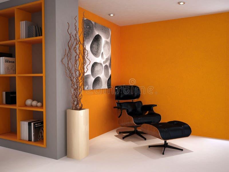 Una silla clásica moderna en un estudio retro del estilo imagen de archivo