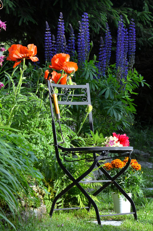 Silla de jardín de flores fotografía de archivo libre de regalías
