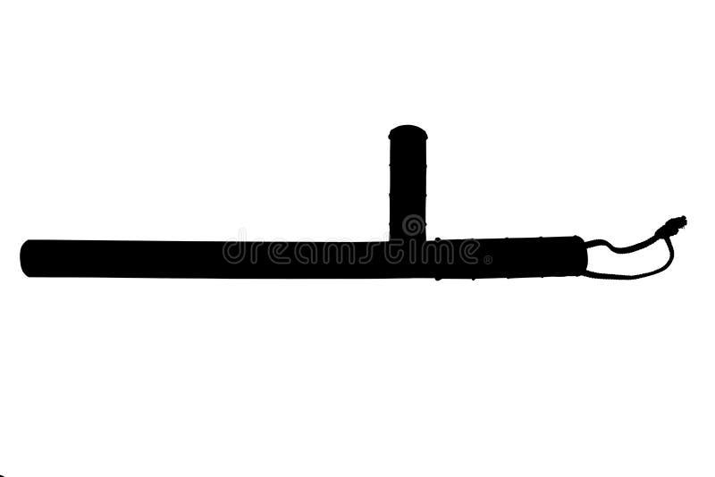 Una silueta blanco y negro del bastón de goma clásico del tonfa de la policía aislado en el fondo blanco ilustración del vector
