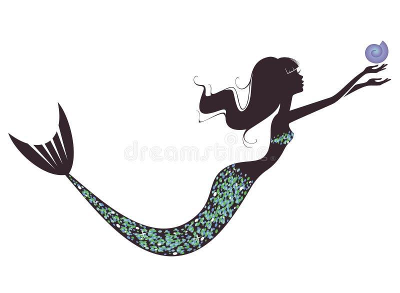 Una silueta de la sirena stock de ilustración