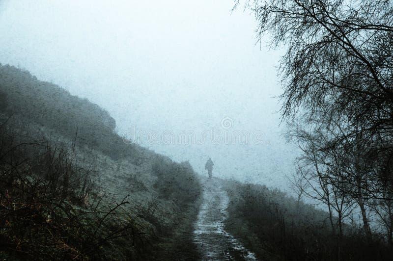 Una silueta de un hombre que camina en la trayectoria en el campo, en un día de inviernos de niebla fantasmagórico Con un grunge, fotos de archivo