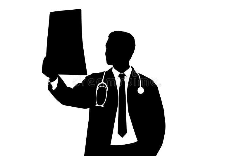 Una silueta de un médico que examina la exploración del CT stock de ilustración