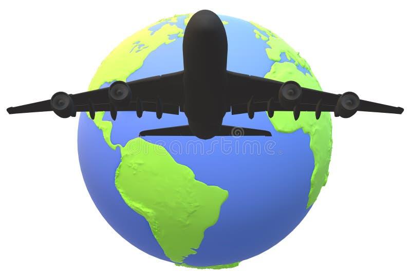 Una silueta de un vuelo grande del aeroplano del avión de pasajeros sobre un globo del mundo ilustración del vector