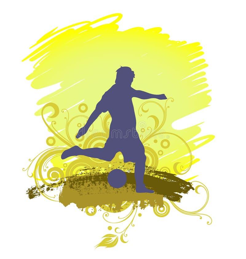 Una silueta masculina del jugador de fútbol, tirando stock de ilustración