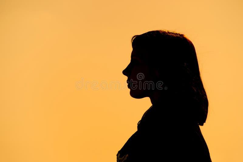 Una silueta negra de una mujer fotos de archivo libres de regalías