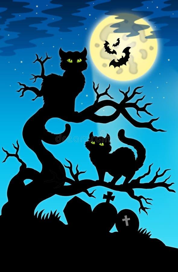 Una siluetta dei due gatti con la luna piena royalty illustrazione gratis