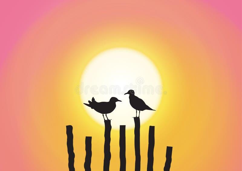 Una siluetta del gabbiano due che si siede sul legname sul fondo dolce di tramonto illustrazione vettoriale