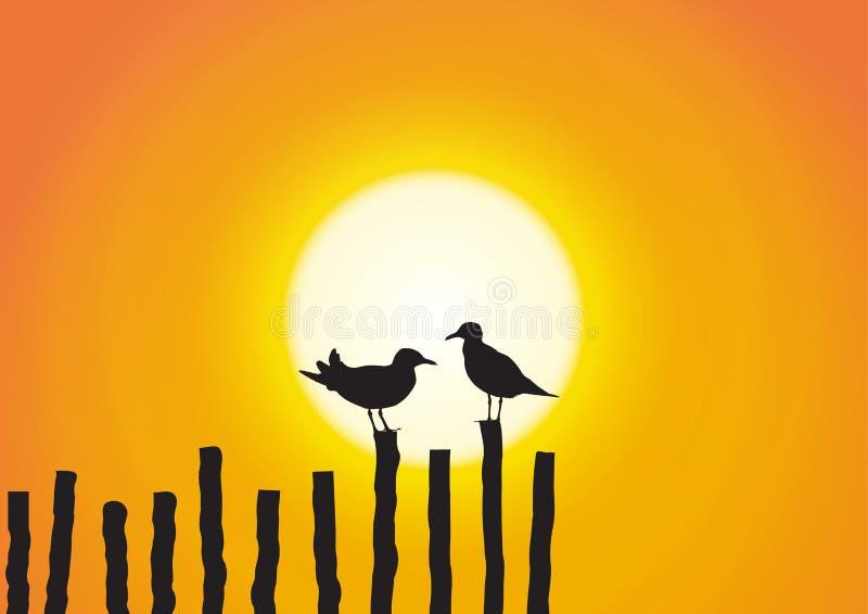 Una siluetta del gabbiano due che si siede sul legname sul fondo dorato di tramonto illustrazione vettoriale