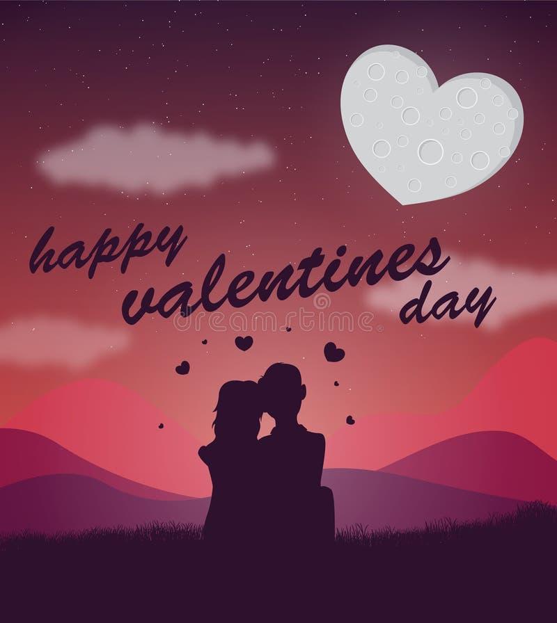 Una siluetta di una coppia con un cuore ha modellato la luna dietro loro immagine stock