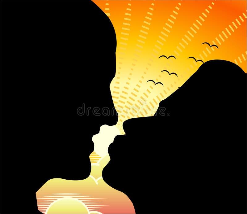 Una siluetta di due fronti di profilo di un uomo e di una donna in un bacio illustrazione di stock