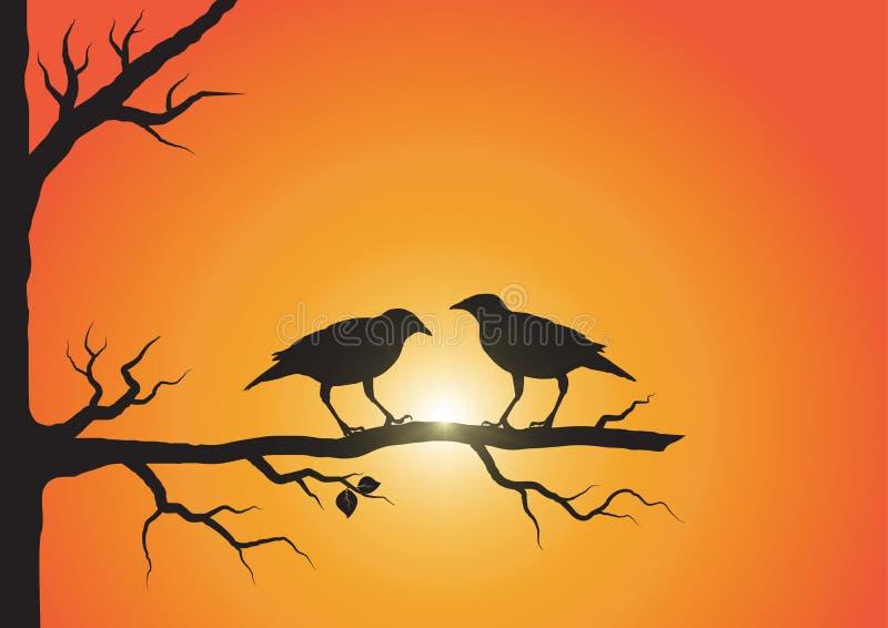 Una siluetta di due uccelli sul ramo sul fondo di alba illustrazione vettoriale