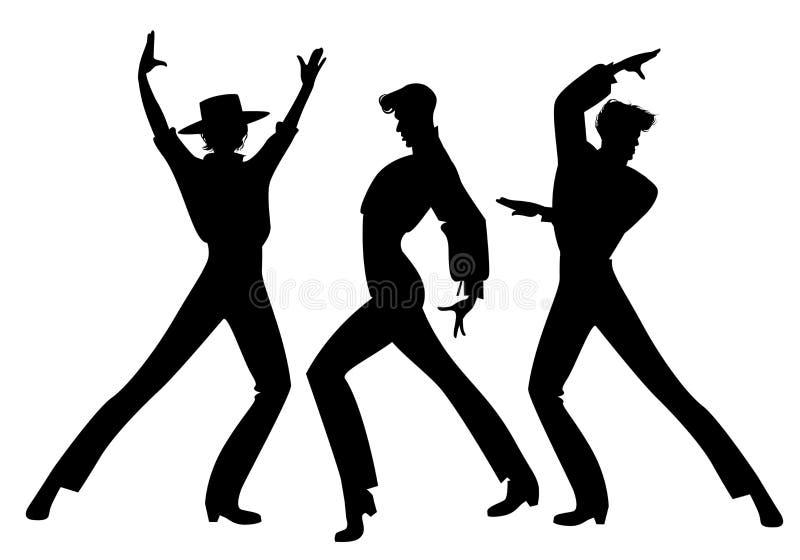 Una siluetta di tre ballerini spagnoli tipici di flamenco illustrazione di stock
