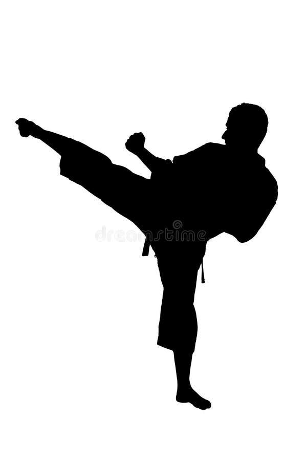 Una siluetta di un'esercitazione dell'uomo di karatè fotografia stock