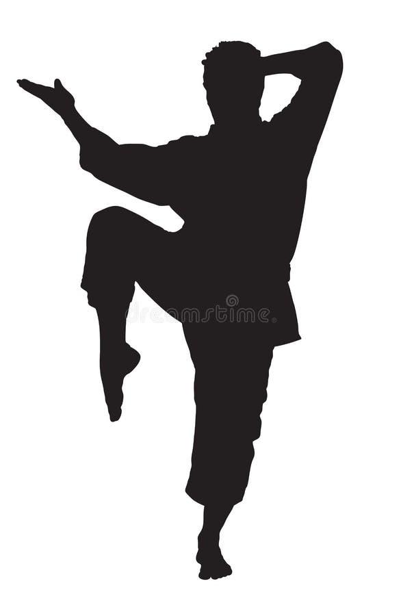 Una siluetta di un uomo di karatè illustrazione di stock