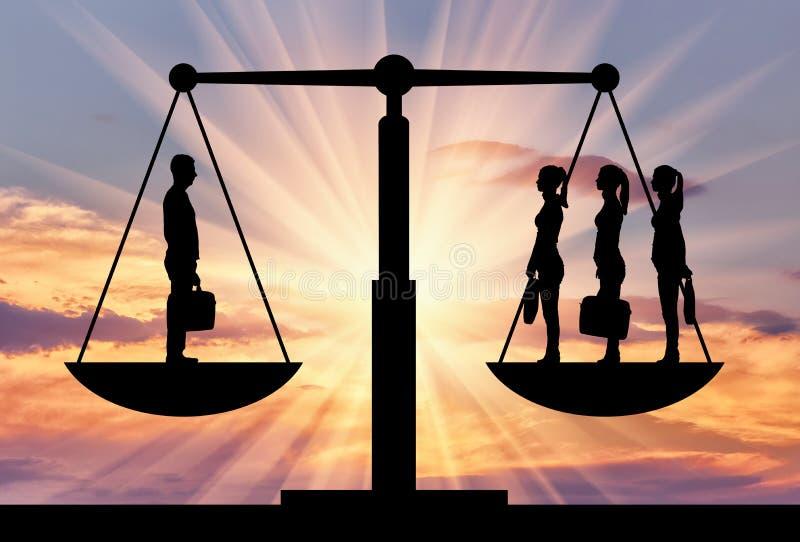 Una siluetta di un uomo e di tre donne sulla bilancia della giustizia immagini stock
