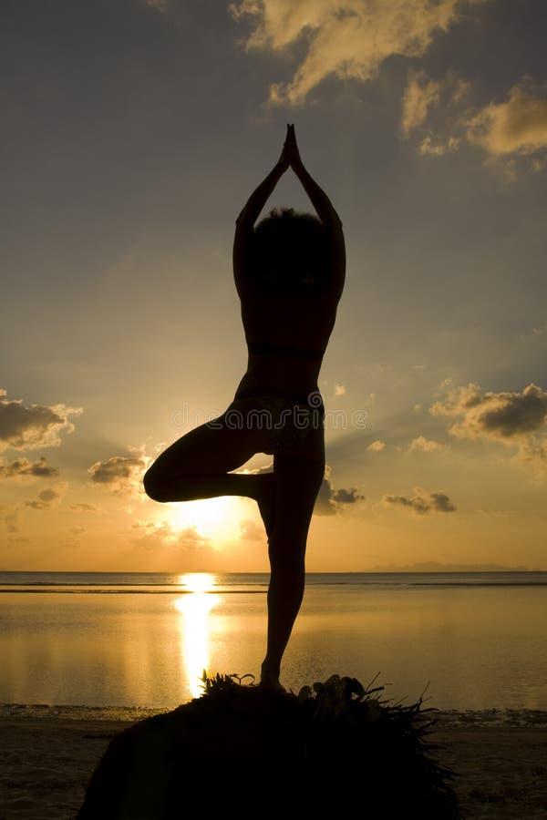 Una siluetta di una donna che affronta tramonto in un yog immagine stock