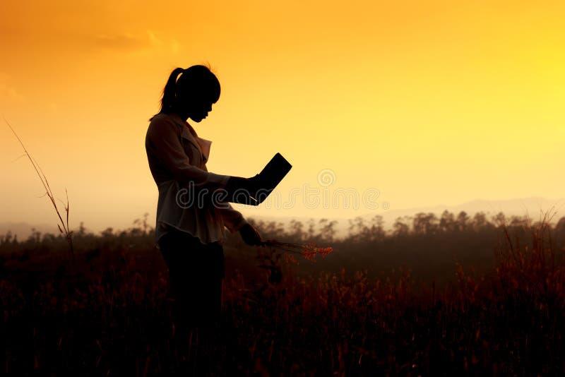 Una siluetta di una ragazza sveglia con il computer immagine stock libera da diritti