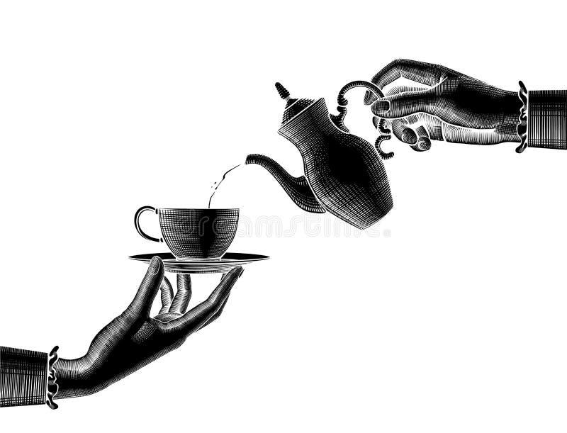 Una siluetta nera di due mani del ` s della donna con una caffettiera e una tazza illustrazione vettoriale