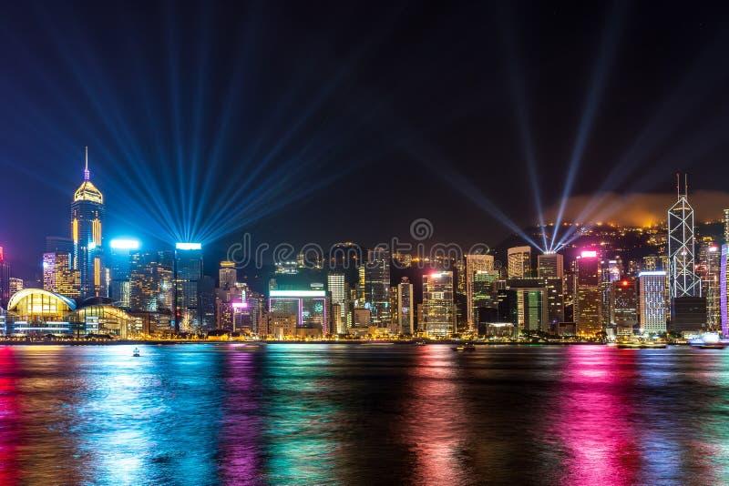 Una sinfon?a de la demostraci?n de las luces en Hong Kong fotos de archivo libres de regalías