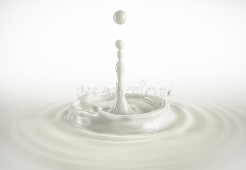 Una singola goccia del latte che spruzza nello stagno del latte con le ondulazioni illustrazione di stock