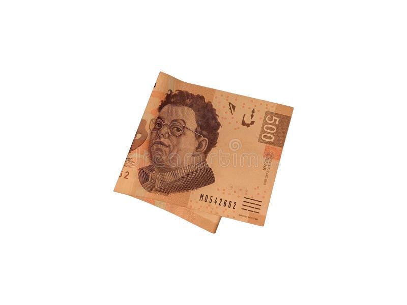 Una sola cuenta doblada del Peso mexicano 500 aislada en el fondo blanco fotografía de archivo libre de regalías