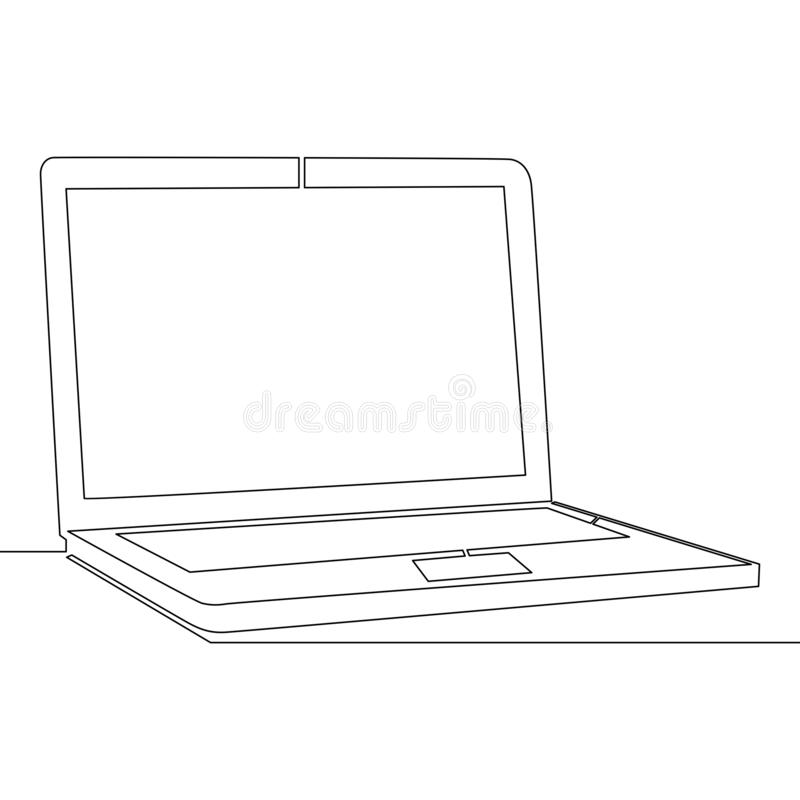 Una sola línea continua concepto del vector del ordenador portátil ilustración del vector