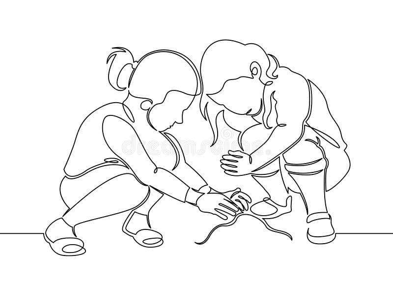 Una sola línea continua pequeños niños dibujados que juegan en la calle en los juegos del ` s de los niños ilustración del vector
