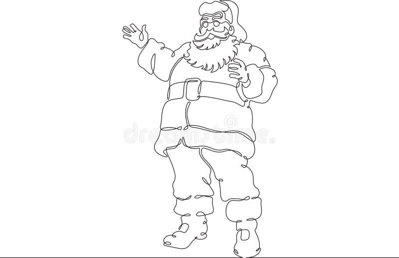 Una sola línea dibujada continua carácter Santa Claus del garabato stock de ilustración
