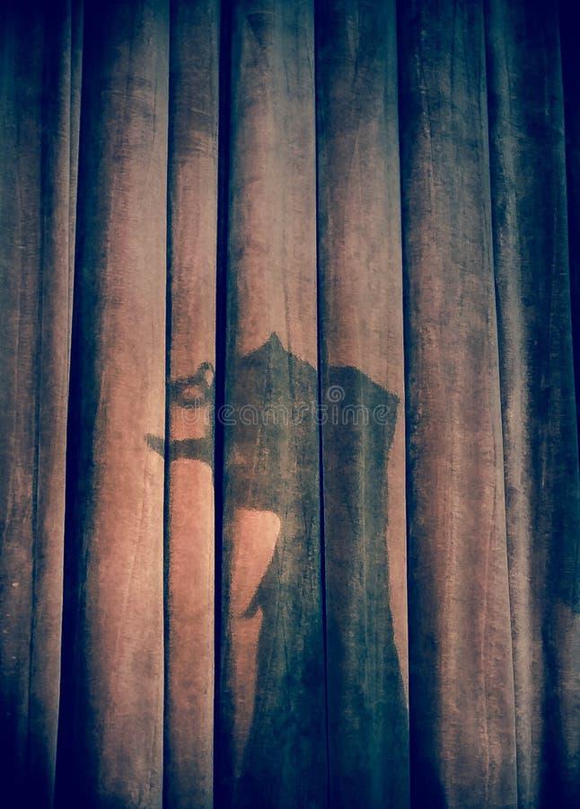 Una sombra de pinocchio en la cortina del escenario foto de archivo
