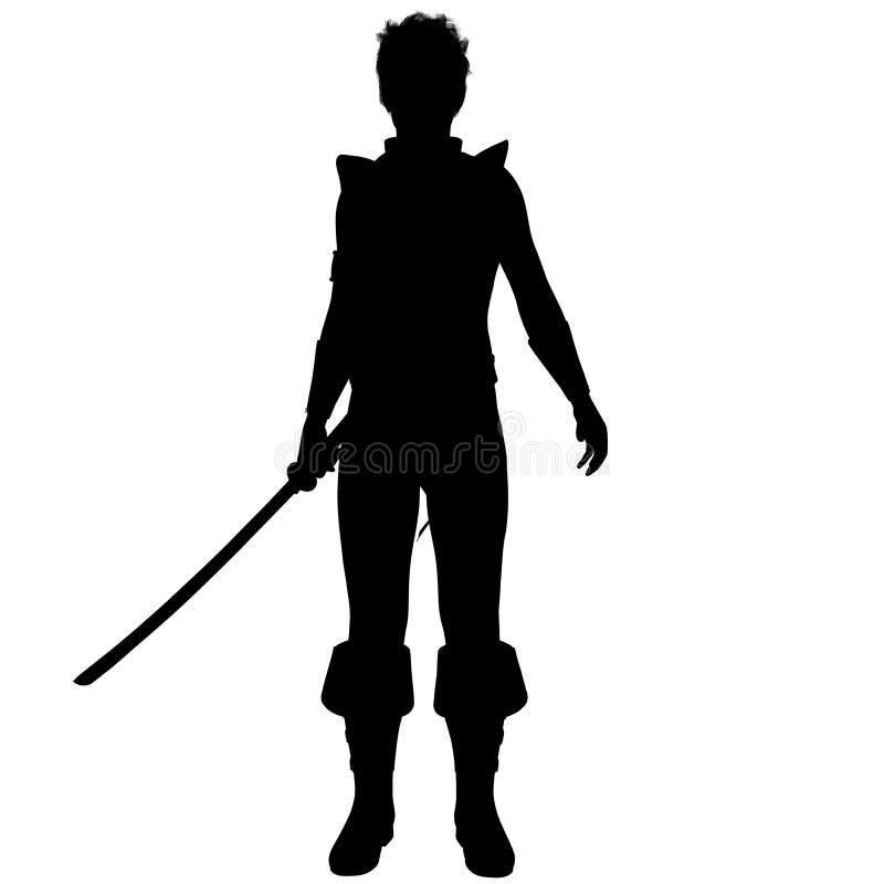 Una sombra del guerrero a partir de un rato antiguo en armadura ligera con una espada ilustración del vector